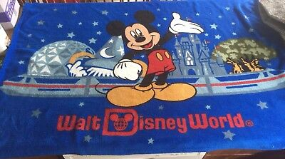 Disney Parks WALT DISNEY WORLD Blue MICKEY MOUSE Throw BLANKET Castle Epcot