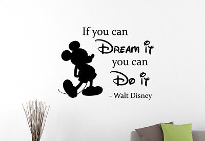 Walt Disney Quote Mickey Mouse 3d Window Decal Wall Sticker Home