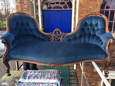 Victorian Spoon Back Drawing Room Double Ended Sofa,chaise,not Chesterfield