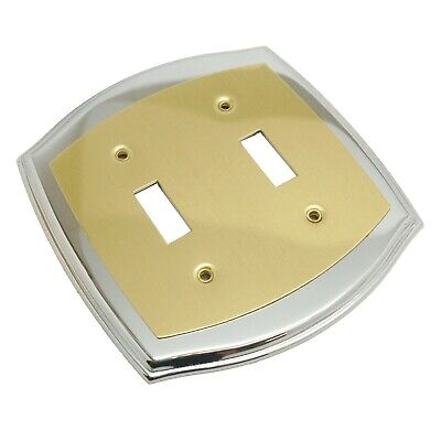 AMEROCK Accents Solid Brass Double Toggle Switch Plate Polished Brass & Chrome