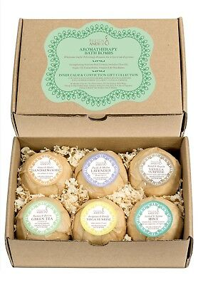 Bath Bombs Set Gift for Women: Pure Aromatherapy Fizzers with 6 Calming Scents