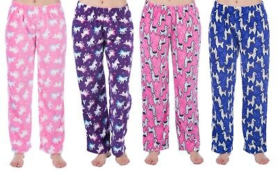 Girls Fleece Lounge Pants Kids Unicorn Llama Pyjama Bottoms Pj Pants Xmas Gift