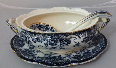 Antique Keeling Losol Ware Chatsworth Flow Blue Small Tureen Underplate & Ladle
