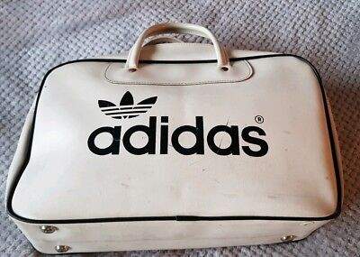 c69131a5f336 VINTAGE ADIDAS TREFOIL SPORTS BAG 1970s PETER BLACK KEIGHLEY WHITE BLACK