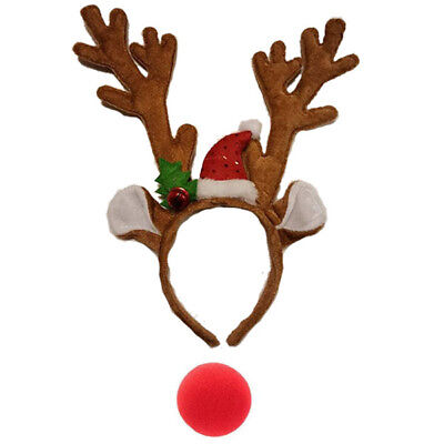 Reindeer Antlers & Red Nose Christmas Xmas Fancy Dress Accessory Novelty