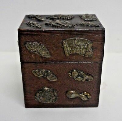 Vintage Japanese Wood Box with Menuki Style Pieces Applied