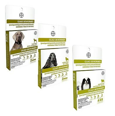 Bayer Quad Dewormer for Large Dogs (Over 45 lbs) 2 Chewable Tablets