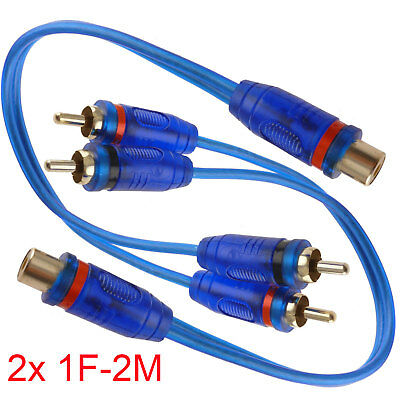 """2x 7"""" RCA Audio Jack Cable Y Adapter Splitter 1 Female to 2 Male Plug OFC 2 Pcs"""