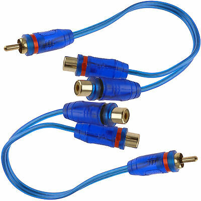 "2x 7"" RCA Audio Jack Cable Y Splitter Adapter 1 Male to 2 Female Plug 2 Pcs"