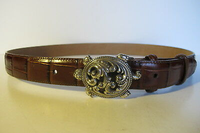 Brighton Leather Brown Belt with Turtle Silver Tone Buckle XL 36 MINT