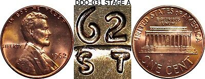 1962-P DDO-031 1C RD Lincoln Cent Uncirculated Doubled Die Obverse Stage A