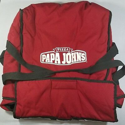 Papa Johns Insulated Hot Pizza Delivery Large Bag Red Carrying Case Storage Tote