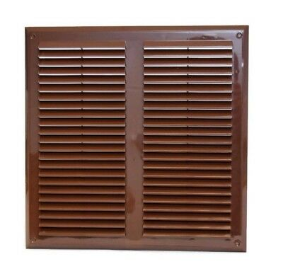 "Brown Air Vent Grille 350mm x 350mm with Fly Screen Ventilation Cover 14"" x 14"""