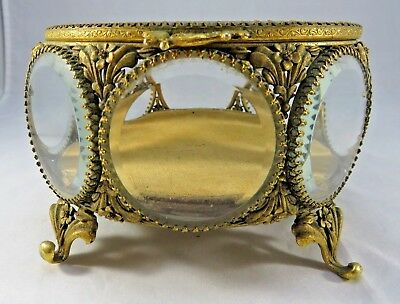 Antique large round brass n glass etched cut trinket box footed Rokoko Victorian