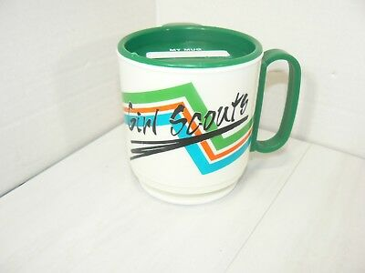 Vintage Whirley Green Girl Scout Plastic Cup Mug With Lid Very Nice Used