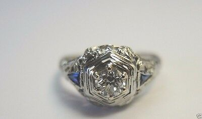Antique Art Deco Diamond Engagement 18K White Gold Ring Size 7.25 UK-O EGL USA