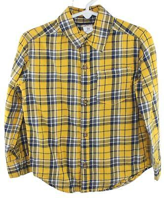 Carters Toddler Boys Blue Yellow Plaid Button Down Shirt Size 3T