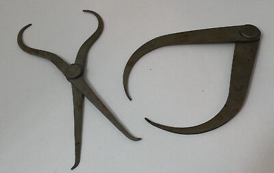 2 pairs of vintage calipers measures: 1 x inside & outside combined & 1 outside