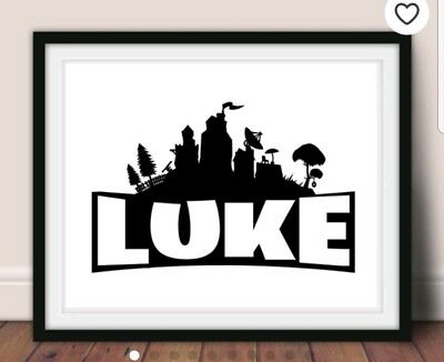 Gaming inspired Personalised Kids' Bedroom picture print *ANY NAME ANY COLOUR