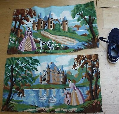 2 x  VINTAGE TAPESTRY PANELS  FOR RE-PURPOSING FLORAL FRENCH COUNTRYSIDE LARGE