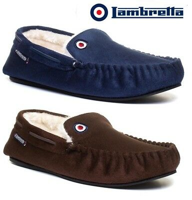 Mens Lambretta Warm Memory Foam Winter Flat Slippers Slip On Mocassins Shoes