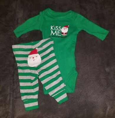 """Nwt carters just one you 3 Month Baby Boy Christmas /""""Mistletoe Magnet/"""" outfit"""