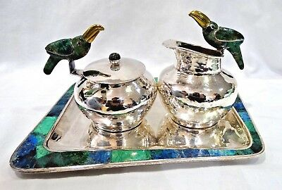 Taxco Los Castillo Tucan Bird Creamer, Sugar Bowl w/ Spoon and Plate