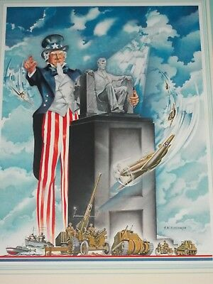 MINT1942Litho UNCLE SAM Lincoln,WWII War POSTER Army Air Force Navy CALENDAR ART
