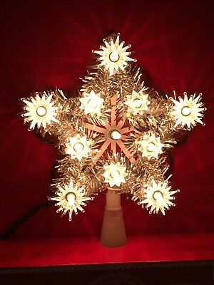 """NEW Holiday Time Silver Tinsel 5 Point Light-Up Star 6"""" Christmas Tree Topper"""