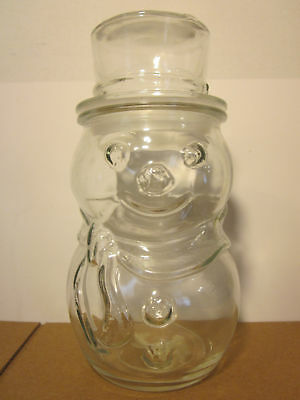 """Frosty the Snowman 8"""" Glass Jar w/ Lid Holiday Christmas Decorative Container"""