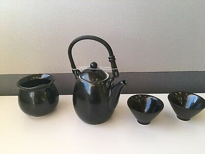 Chinese Black Ceramic Teapot with Two Cups One Bowl Gift Set New