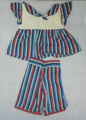 Vintage Doll Clothes 1940s 1950s Blue & Red Striped Dress & Pants