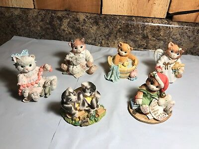 Lot of 6 Vintage Enesco ~ Calico Kittens ~ Cat Figurines