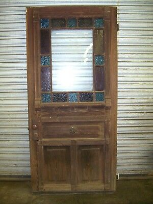 Heart Pine Door W Stained Glass