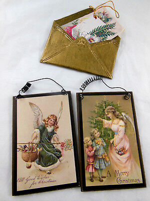 """VICTORIAN STYLE Angel POSTCARDs + Tin envelope CHRISTMAS ORNAMENT Aprox. 4"""" tall"""