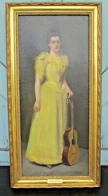 antique PAINTING signed J. E. HAIGHT 1882 Women in Yellow Victorian Portrait O/C
