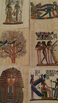 """6 PC LOT Egyptian PAPYRUS Paper with Pictures 4 1/2"""" x 5"""""""