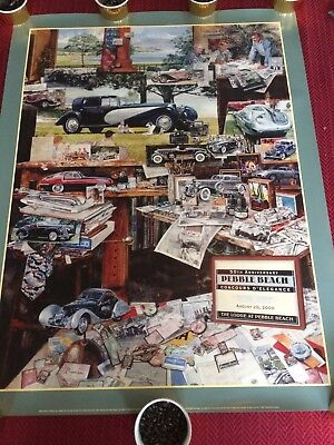 "Pebble Beach Concours 50th 2000 ""MONTAGE never done before"" Poster John F Marsh"