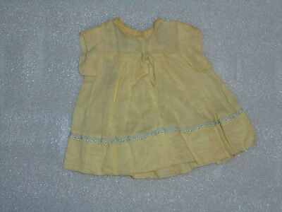 Vintage Doll Clothes 1940s 1950s Small Yellow Dress With White Trim