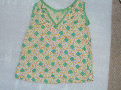 Vintage Doll Clothes 1940s 1950s Green Print Dress