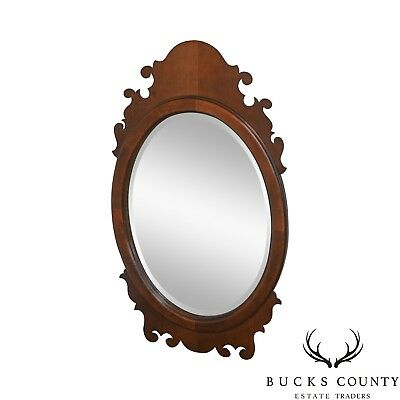 Victorian Style Cherry Oval Beveled Wall Mirror