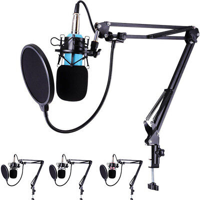 Audio Vocali Studio Microfono Condensatore Kit Braccio Supporto Shock W/ Pop