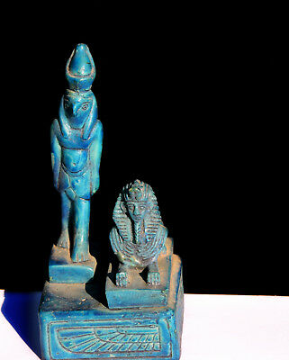 Vintage Miniature Egyptian Revival Statue Horus Ra Falcon God Sphinx