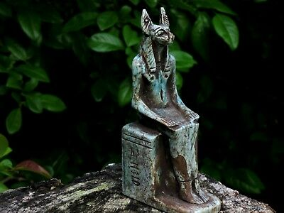 Antique Egyptian Faience Anubis Hand Carved Stone Miniature Sculpture Statue