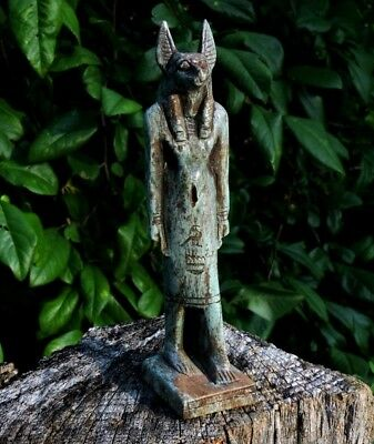 Antique Egyptian Faience Anubis Hand Carved Stone Sculpture Miniature Statue