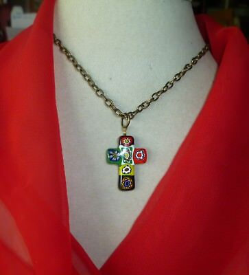 Murano Glass Crucifix, 1980's, On Middle Age Style Brass Chain, From Italy