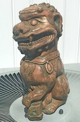 """Hand Carved Heavy Wood Chinese AsianCollectible Ornate Foo Dog Heavy 11"""" Tall"""
