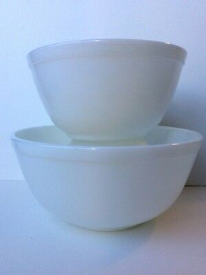 Pyrex Opal White Bowls Nesting Mixing Vintage 402 403 Lot 2 1.5 2.5 Qt Unmarked