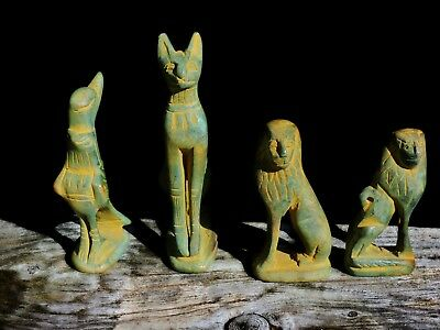 Antique Ceramic Faience Egyptian God Goddess Bast Horus Maahes Sculpture Statues