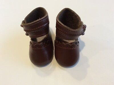 """2 1/4"""" Double Strap Light Brown Leather Shoes for Antique, Repro or Modern Doll"""